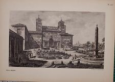 ANTIQUE PIRANESI PRINT 100 YEARS OLD from VIEWS of ROME VILLA MEDICIS
