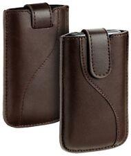 Diseño cuero bolso marrón f Samsung Wave M s7250 funda estuche