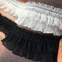 2yds Ruffle Lace Trims Elastic Frilly Ribbon Fabric Doll Skirt Hem 3.14'' Width
