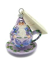 Patricia Breen Tea for Two Clematis Holiday Tree Ornament Tea Party Cup Violet