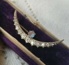Edwardian Saphiret Crescent Moon Brooch With Paste Stones RARE