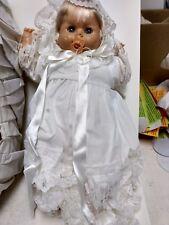 Lloyderson Baby Doll Sleep Eyes Sarah Holiday White Dress In Basket   ds246