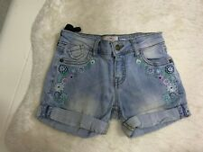 FATFACE PALE BLUE EMBROIDERED GIRLS DENIM SHORTS  WITH ADJUSTABLE WAIST- 4-5 YRS