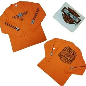 NWOT Harley Davidson Motorcycles SKULL Orange Long Sleeve Shirt 2XL XXL Urbana