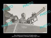 OLD POSTCARD SIZE PHOTO AUSTRALIAN MILITARY ROSS SMITH & HIS BRISTOL PLANE 1917