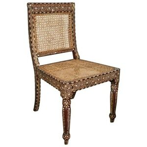 Inlaid Side Chair Teak wood / Rest Chair Bone Inlay Brwon and White Inlay Chair