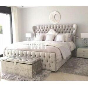SILVER CRUSHED VELVET WING BACK / BUTTERFLY OTTOMAN BED FRAME DIVAN NEW SALE