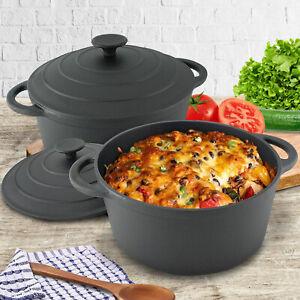 Cast Iron Casserole Dish Black Pre-Seasoned Oven Proof Pot Lid 5L Induction Pan
