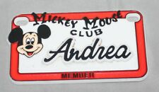 Vintage Walt Disney Mickey Mouse Club Andrea Plastic Name License Plate