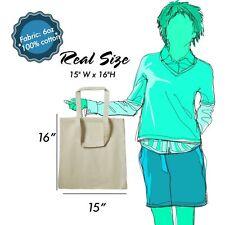 100 PIECES 100% Cotton Reusable Shopping To-Go Carry Tote Bag Plain Colors
