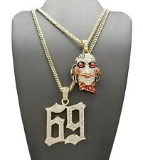 """NEW ICED OUT 69 ZIGSAW PENDANT WITH 3mm 20"""" & 24"""" CUBAN CHAIN"""