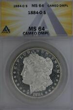 1884-O  $1  ANACS MS 64 CAMEO DMPL  Morgan Silver Dollar,  Miss Liberty Head