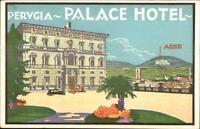 Art Deco Poster Art Hotel Promo Purugia Italy PALACE HOTEL c1920s Postcard