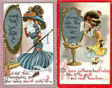 Vintage Postcard pair (2) Mirror Writing Pretty Ladies Reverse Looking Glass