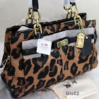 NWT COACH CHELSEA OCELOT LEOPARD BROWN/BLACK SATCHEL TOTE SHOULDER BAG PURSE NEW