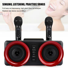 Wireless Bluetooth Speaker Home Echo Device Handheld Singing Box Dual Mic Black