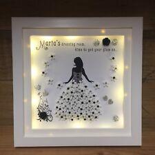 LED Personalised Box Frame Beautician, Hairdresser Gift 3D Flowers Bling