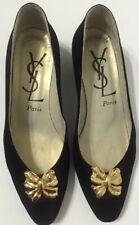 Vintage Yves Saint Laurent Pumps Heels Kitten Black Suede Womens Size 8.5M