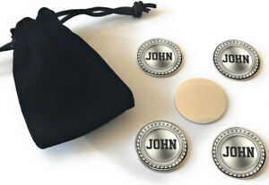 Personalised Golf Ball Markers x 5 Golfer Gift Brushed Silver Medal Design