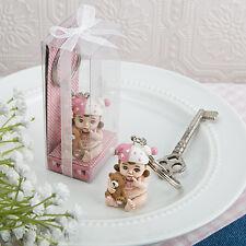 30 Baby Girl Key Chain Pink Vintage Favor Baby Shower Christening Event Bulk Lot