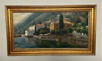 Large Unsigned Original Framed Oil on Canvas Painting - Mediterranean Landscape
