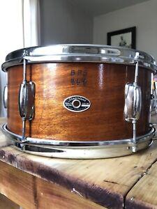 Vintage 1970s Slingerland Wood Snare Drum Acoustic 6x14 Soft Case USA Chrome Old