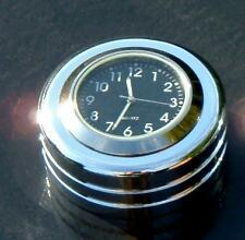 """British Made Harley Sportster / Dyna """"Groove"""" Stem Nut Cover with Black Clock"""