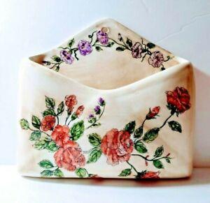 Ceramic Floral Rose Wall Mount Pocket Mail Holder Envelope