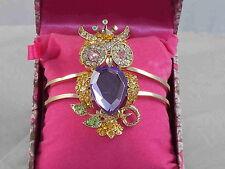 Betsey Johnson Goldtone Purple Stone Pave Perched Owl Hinged Bangle Bracelet $35