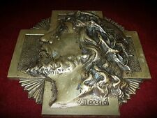 Reclaimed Vintage Signed Brass Religious Plaque