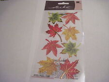 Scrapbooking Crafts Stickers Stickos Leaves Fall Gold Trim Maple Vellum Autumn