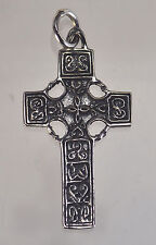 LOOK CELTIC Irish wicca Cross Sterling silver PENDANT Charm Jewelry Pagan mythol