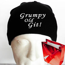 GRUMPY OLD GIT! Beanie Hat Fun Fathers day present gifts for Dad EMBROIDERED