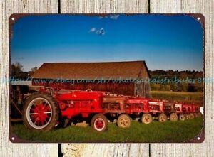 indoor metal wall art Bright red Farmall tractors farm field barn tin sign