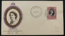 1953 Vila New Hebrides QE 2 Coronation First Day Cover Queen Elizabeth FDC B