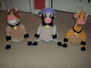 "Rare Disney Home on the Range Lot 3 Plush Cows Maggie Mrs. Caloway & Grace 12.5"""