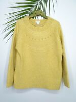 NWT Caslon Women's Stitch Details Pullover Sweater Crew Neck Yellow Whip Size XL