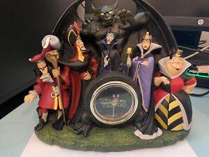 Disney Villains Mantle Desk Clock Hook Maleficent Evil Queen Chernabog DAMAGED
