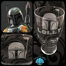 Star Wars Boba Fett Pint Glass Unique Gift! FREE Name Engraving Personalised!