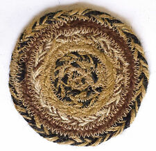 "4 KETTLE GROVE Country Primitive Black, Brown & Tan Braided Jute 4"" Coasters"