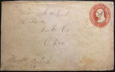 """1854c.  3 CENT (RED) SCOTT# U9 """"GEORGE WASHINGTON"""" MADISON LAKE CO., OHIO COVER!"""