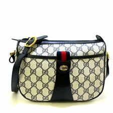 Auth GUCCI Accessory Collection GG Plus GG Supreme Cream Navy Shoulder Bag