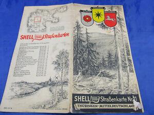 Shell-Strassenkarte Nr,11 Thüringen/Mitteldeutschl 40er Oldtimer Auto Landkarte