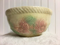 "Vintage Hull Pottery USA Sun Glow Mixing Bowl 7.5"" Pink Flowers"
