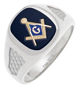 Men's Sterling Silver Gold Masonic Freemason Mason Ring