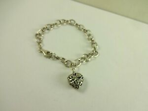 Sterling Silver Designer SU Rolo Link Filigree Heart Charm  Bracelet