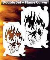 Flame Skull 8 Airbrush Stencil Spray Vision Template