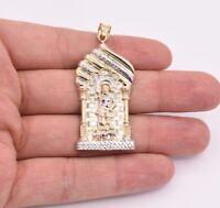 "2 3/8"" Saint Lazarus Jesus Pendant Diamond Cut Real 10K Yellow White Gold"