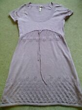 White Stuff Cotton/Wool Knitted Dress Size 16 Lavender - Lace effect