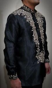 BARONG TAGALOG Filipino National Costume FILIPINIANA Filipino Dress - Black
